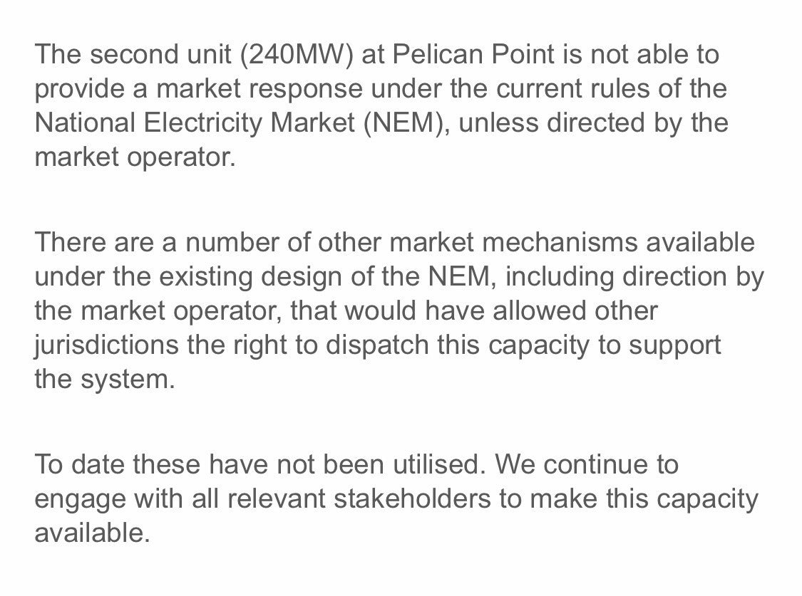 Engie, the owner of Pelican Pt Power Station, says it wasn't allowed to bid extra power into the market before load shedding https://t.co/poCexfcgXu