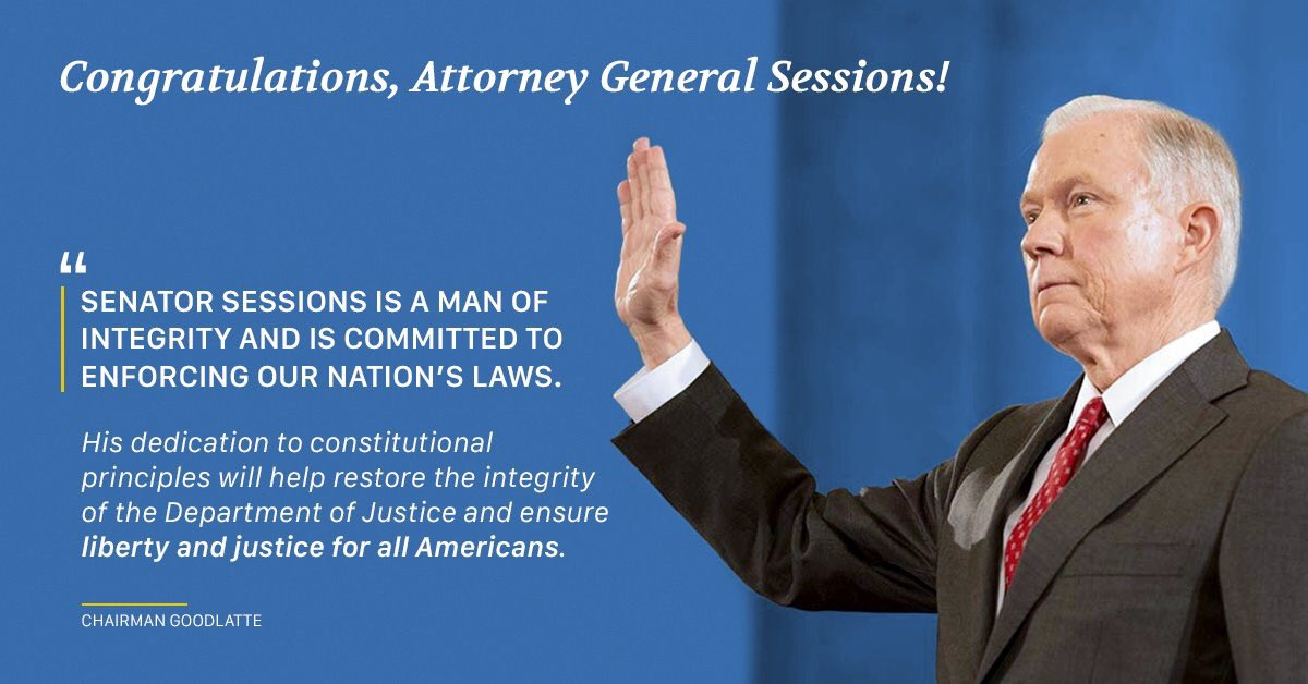 Congratulations to @SenatorSessions -  the next Attorney General of the United States! https://t.co/QkWaA2w9jt
