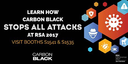 Stop by our booth at #RSAC2017 to learn more about #NGAV and Streaming Prevention. #CbRSA17 https://t.co/8TX5ALZq8F