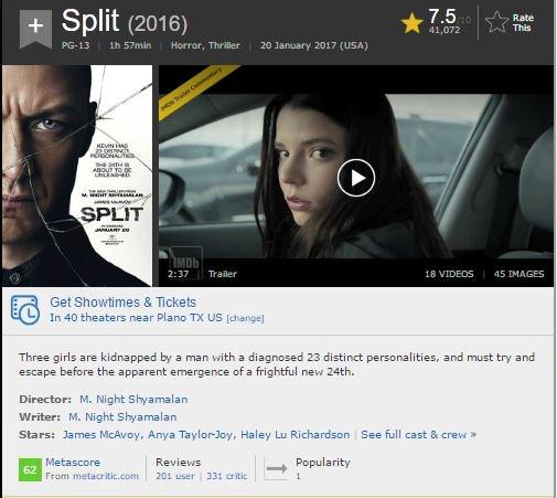 Metacritic split