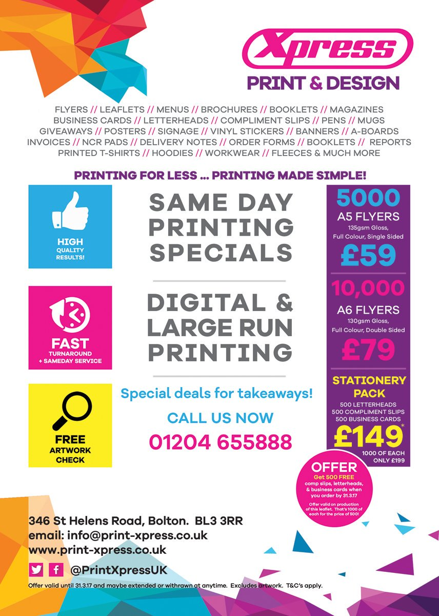 Xpress print design on twitter latest february print deals buy xpress print design on twitter latest february print deals buy 1 get 1 free on business stationery bolton printing print deals flyers reheart Gallery