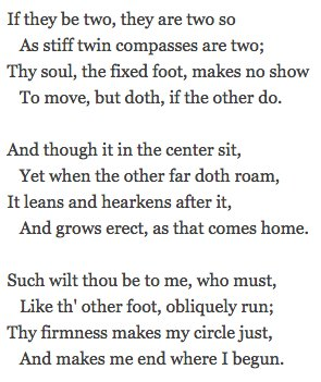 In These Stanzas Of A Valediction Forbidding Mourning John Donne Compares Two Lovers To Feet Drawing Compass