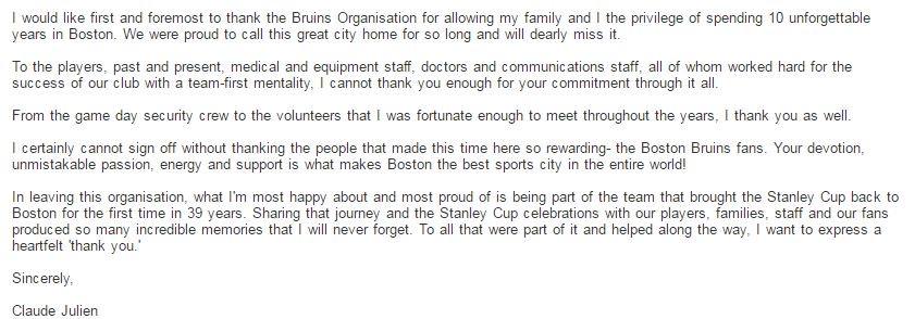 Claude Julien has issued a statement https://t.co/XiX4RMWRn1