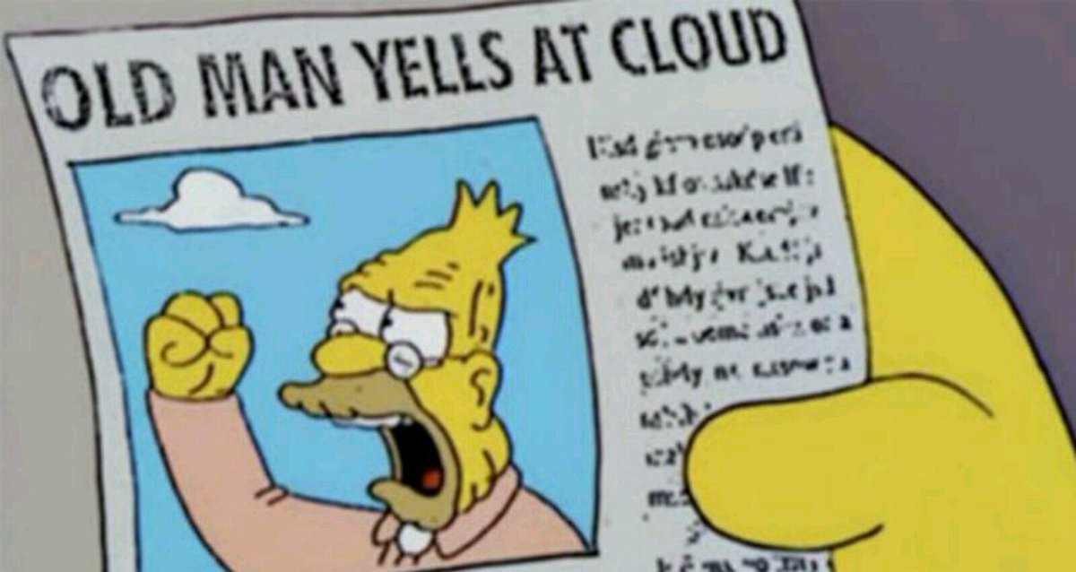 Cartoon of a newspaper with heading 'Old Man Yells At Cloud' and photo of an old man with fist raised upward towards clouds in the sky