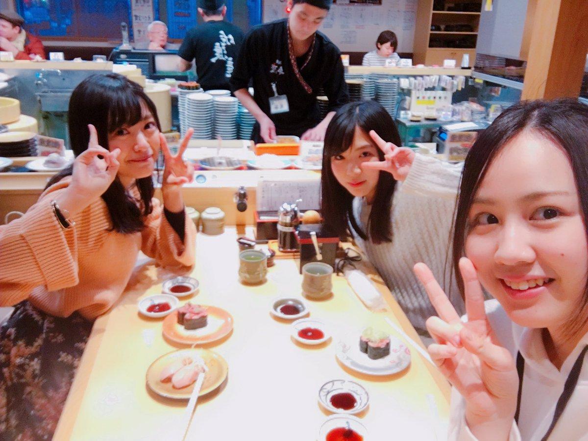 今日は #NGT48 のみはるとななことお寿司食べてきたよ✌🏻💓ずっと行きたかった弁慶!!!回転寿司…