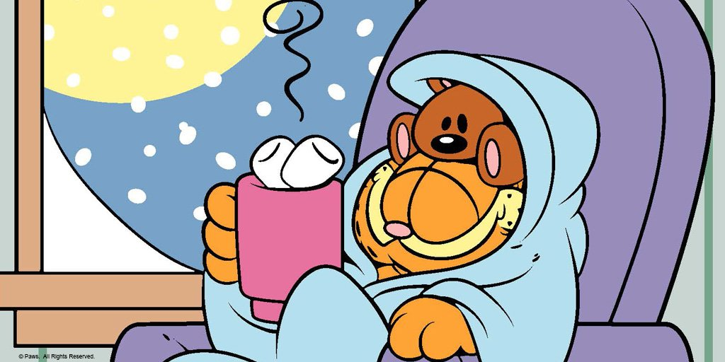 Garfield On Twitter Recipe For A Snowy Day A Blanket Cocoa And Two Marshmallows Northeast Snowday Staywarm Brrrrr
