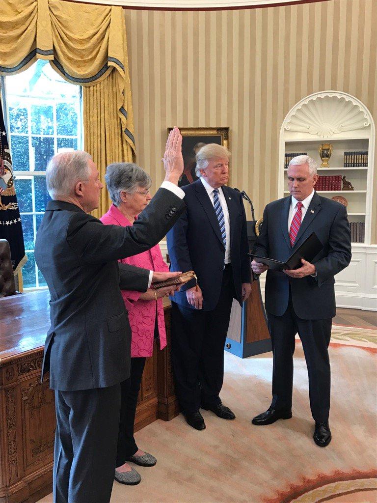 VP Pence swears in Jeff Sessions https://t.co/j2D4l3fFoE