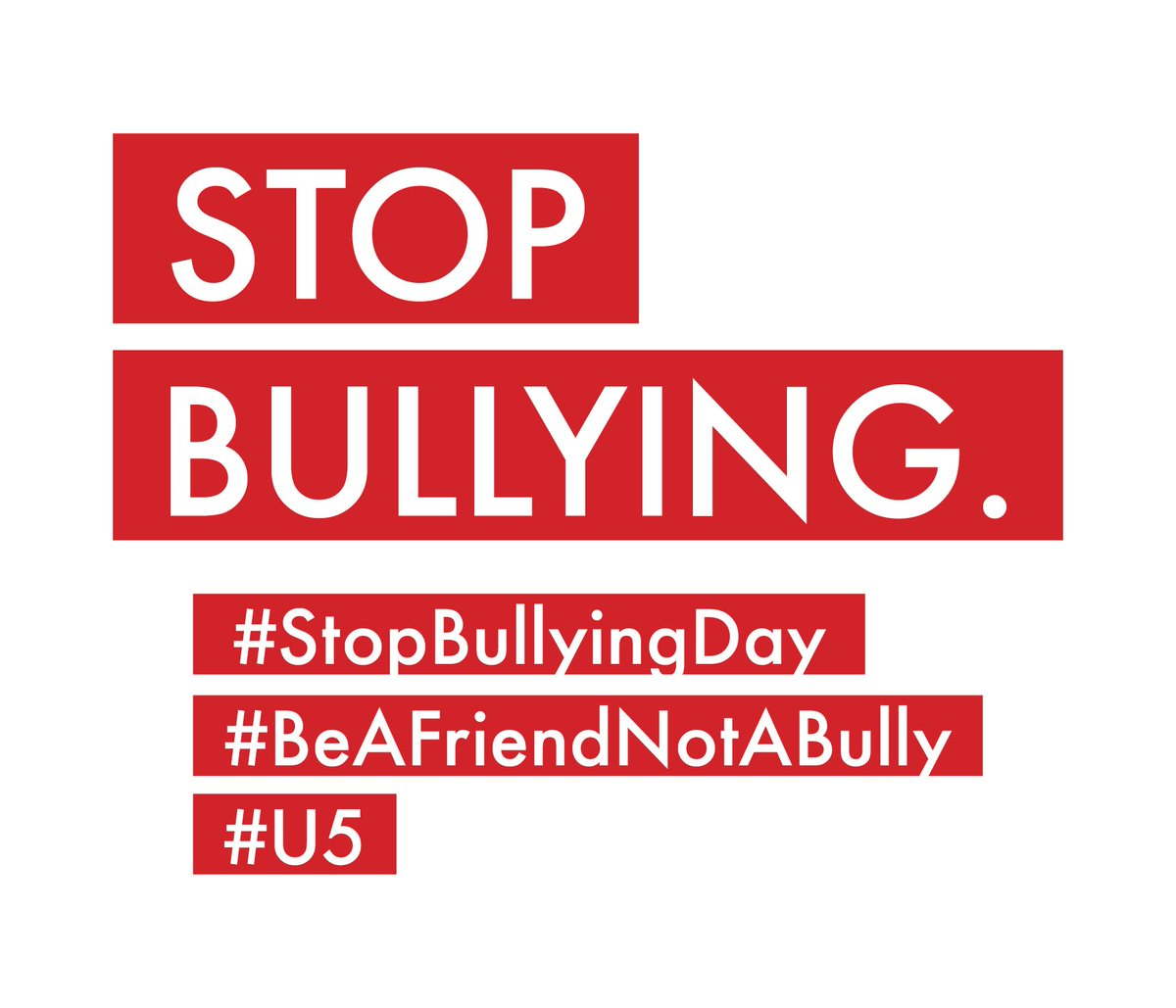 Join us in this movement in honor of #StopBullyingDay and help us to eliminate bullying. #BeAFriendNotABully #U5pic.twitter.com/29DanN0P0c