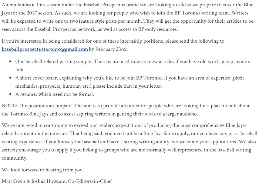 Bp Toronto On Twitter We Re Looking For Writers Interested Email