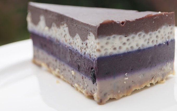 Blueberry Rainbow Chia Cake With Chocolate Ganache [Vegan, Gluten-Free]