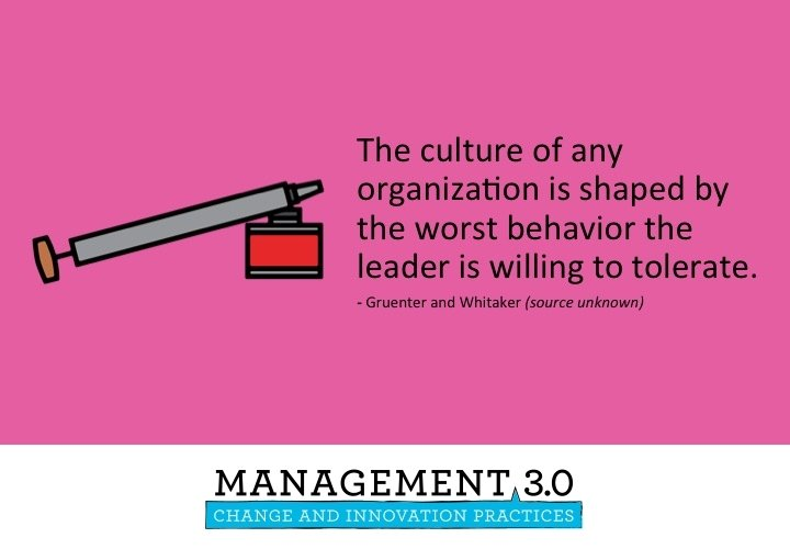 The culture of any organization is shaped by the worst behavior the leader is willing to tolerate. @management30 https://t.co/cs7qe0y6Ag