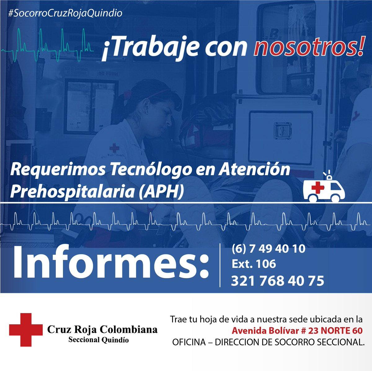 ¡Trabaje con nosotros! #SiHayTrabajo  #SocorroCruzRojaQuindio<br>http://pic.twitter.com/QKglwvMdMF