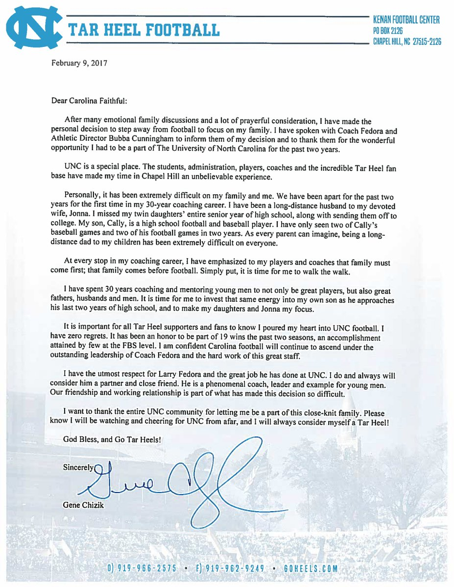 Carolina Football On Twitter Here Is Coach Chiziks Letter To The