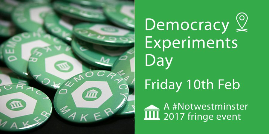 It's our #Notwestminster Democracy Experiments Day. Bring along your ideas for things to try and things to fix: https://t.co/bRrwESZgqZ https://t.co/QdOvkBjPFT