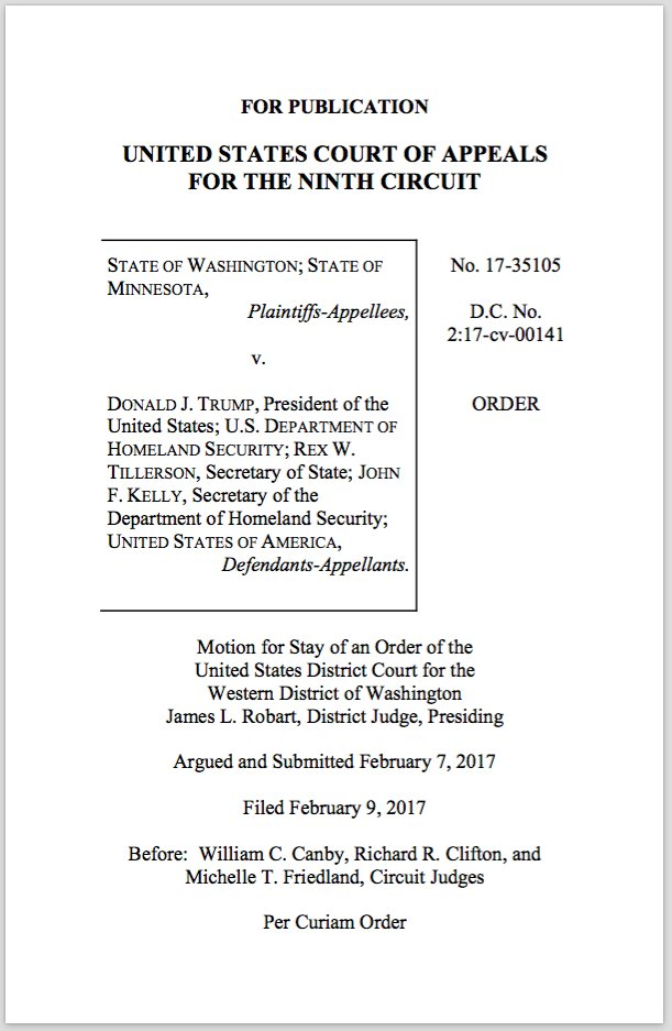 President Trump's travel ban will remain blocked, a federal appeals court ruled. Read the court's full decision https://t.co/4dfGs4khjh https://t.co/x5r1w7WRHc