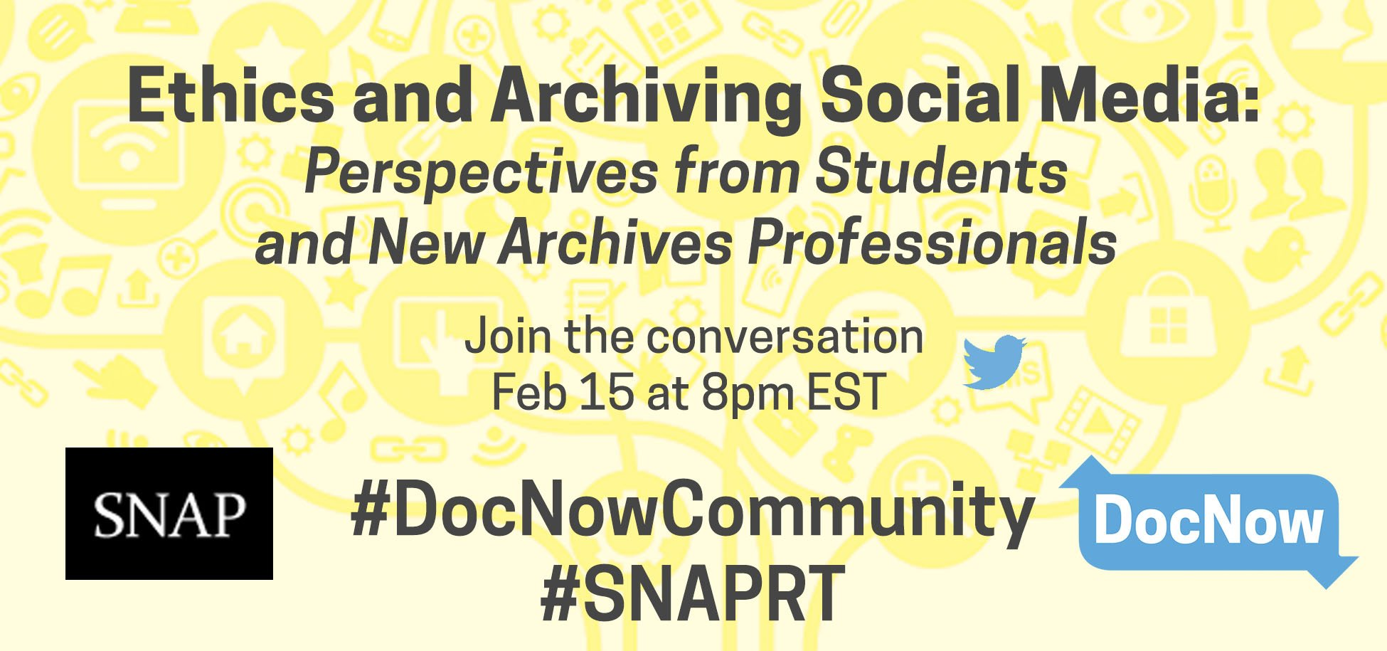 Announcing our joint #snaprt #docnowcommunity chat with @documentnow on February 15 at 8pm ET!  https://t.co/45TrILmIEw https://t.co/9nPsXki3gE