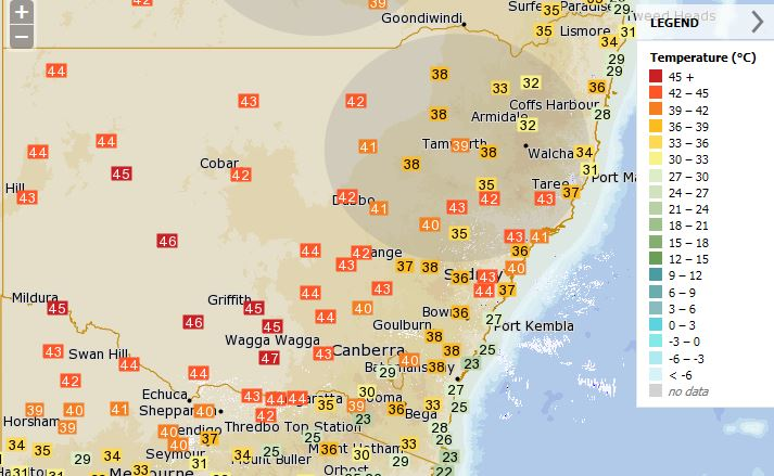 Current temperatures around #NSW and #Canberra. More at https://t.co/2qM1QRn3xE. #heatwave #NSWweather #ACTweather https://t.co/cF7Ay25yP5