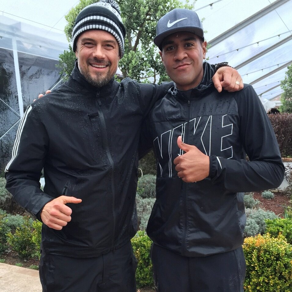 Great day 1 with my Pro @tonyfinaugolf in the pouring rain. Loved it....