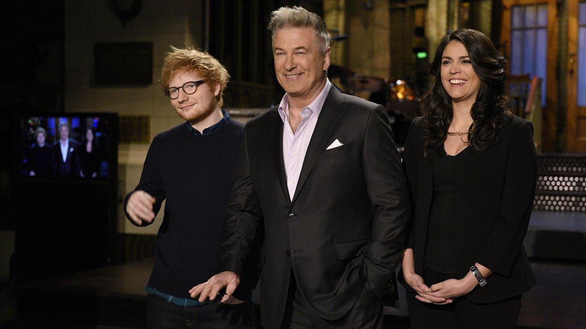 .@AlecBaldwin hosts with musical guest @edsheeran this weekend! #SNL