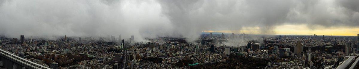 先ほどの雨雲と思われていたのは雪雲だったようで、スカイデッキでは雪が舞っていました。 東京中に雲がモ…