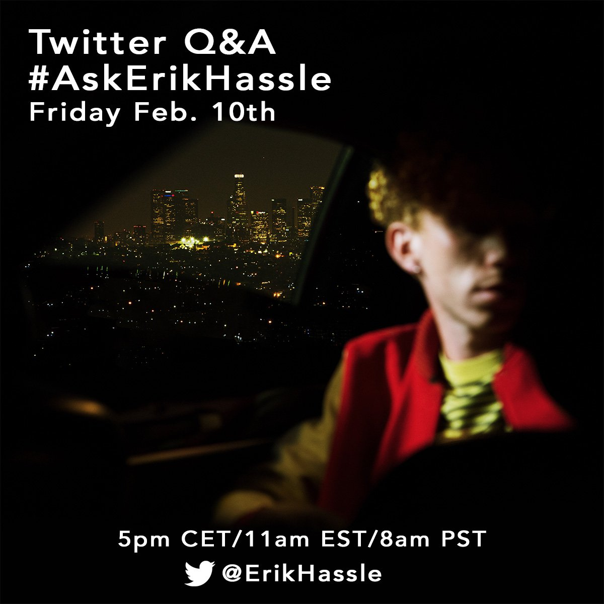 Doin a Q&A later today! Ask me anything with #AskErikHassle