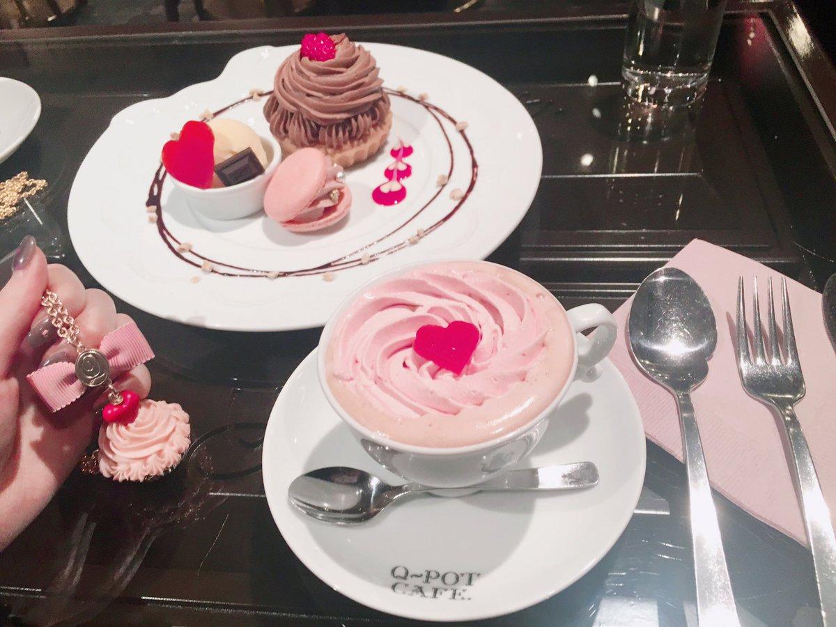 今日のスイーツ♡  Q-pot CAFEのバレンタイン限定プレート 行けないと思ってたから良かったー…