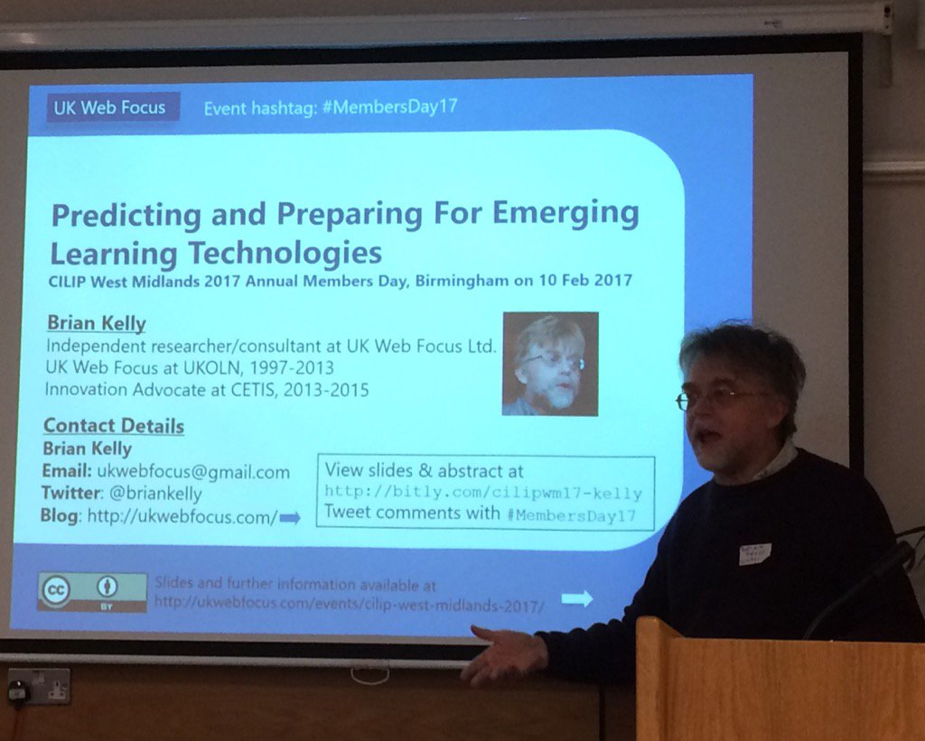 @briankelly getting us thinking about future learning technologies. Loads of his stuff online for #membersday17 https://t.co/qOWQdOSF2K
