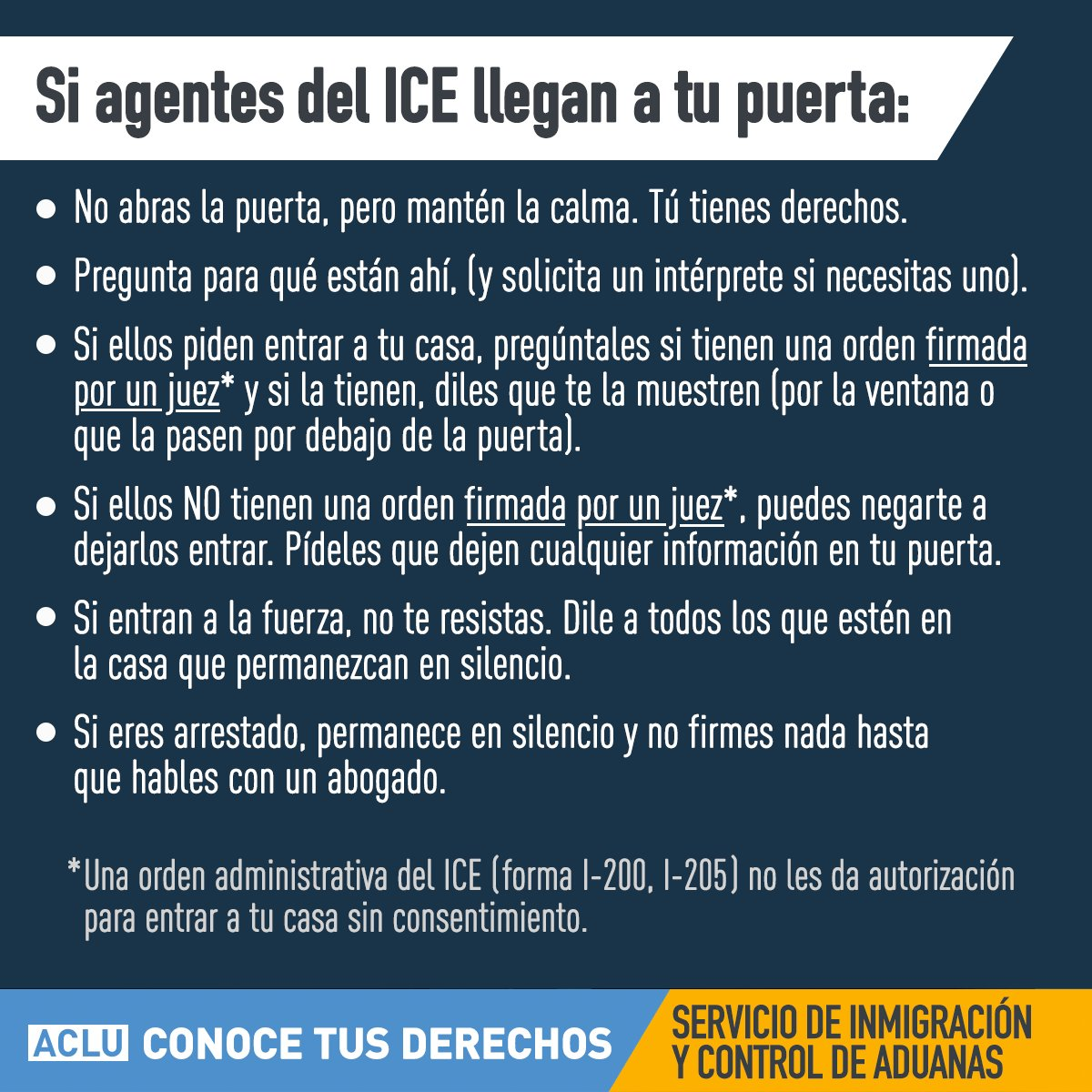 KNOW YOUR RIGHTS: What to do if ICE agents show up at your door.  #NoBanNoWallNoRaids