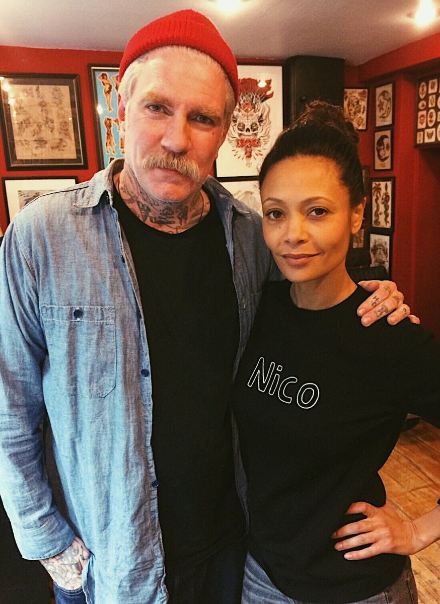 Miles tattooed the lovely @thandienewton today. Thank you for the ice cream