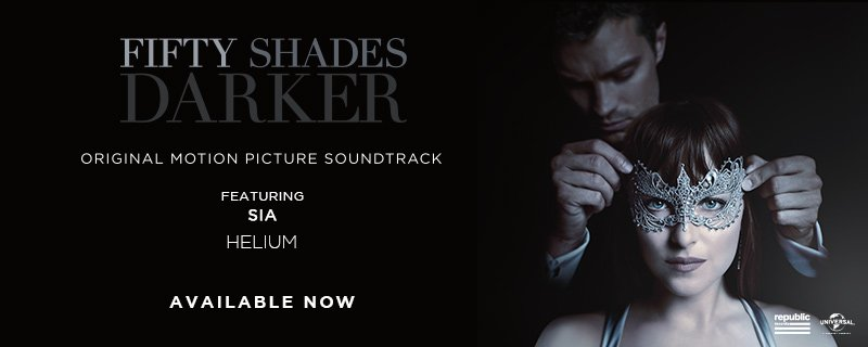 The #FiftyShadesDarker soundtrack featuring Sia\'s song \