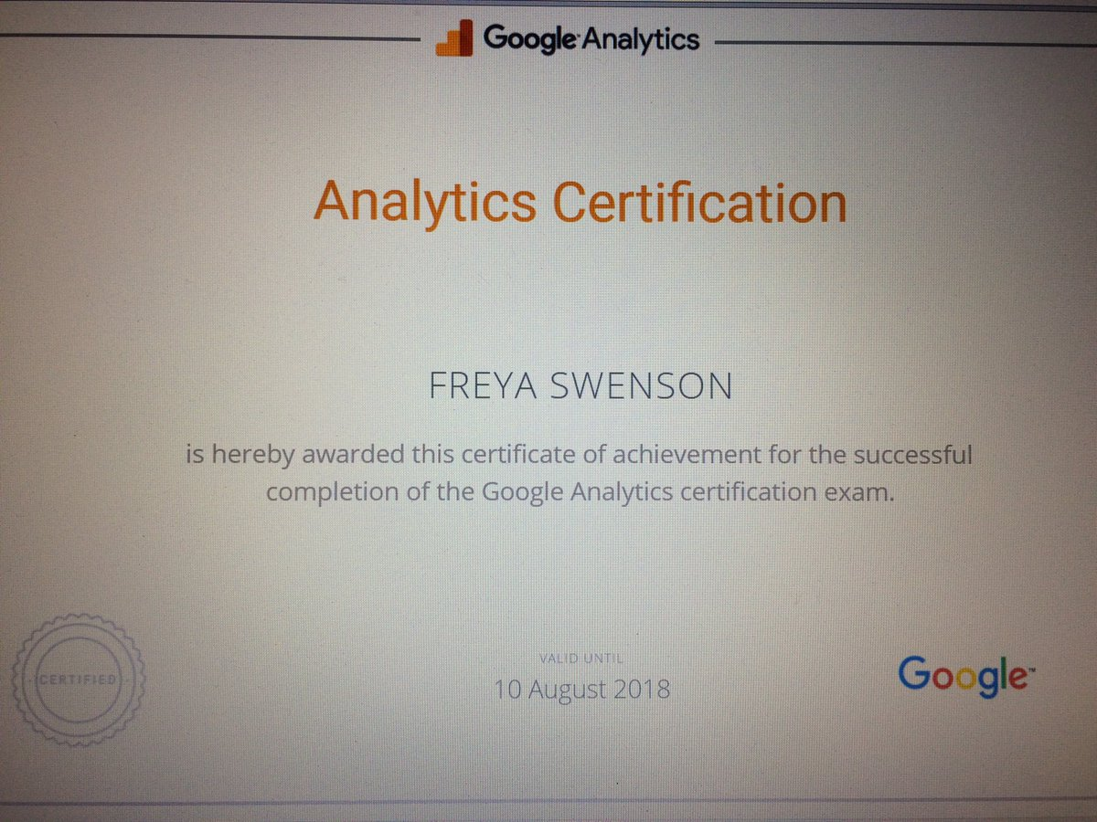 Freya Swenson On Twitter Woohoo Passed My Google Analytics