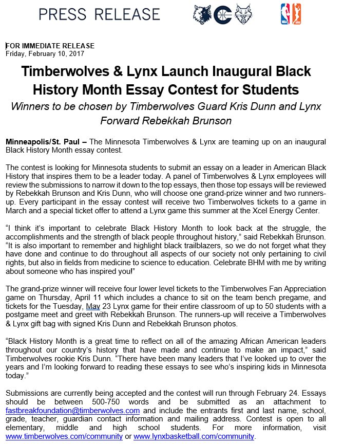 Essay About Service Twolves And Lynx Launch Inaugural Black History Month Essay Contest For  Studentspictwittercomzgzxgorbh Project Management Essays also Writing Experience Essay Example Timberwolves Pr On Twitter Twolves And Lynx Launch Inaugural  Creative Argumentative Essay Topics
