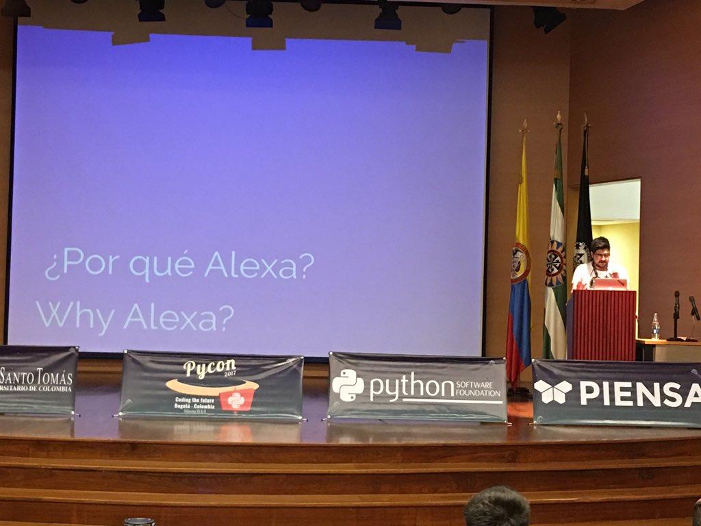 Un amigo de la casa Julián Amaya de @monoku nos enseña a crear habilidades para Alexa en el #PyConCo2017 @pyconcolombia https://t.co/37blGmmurJ