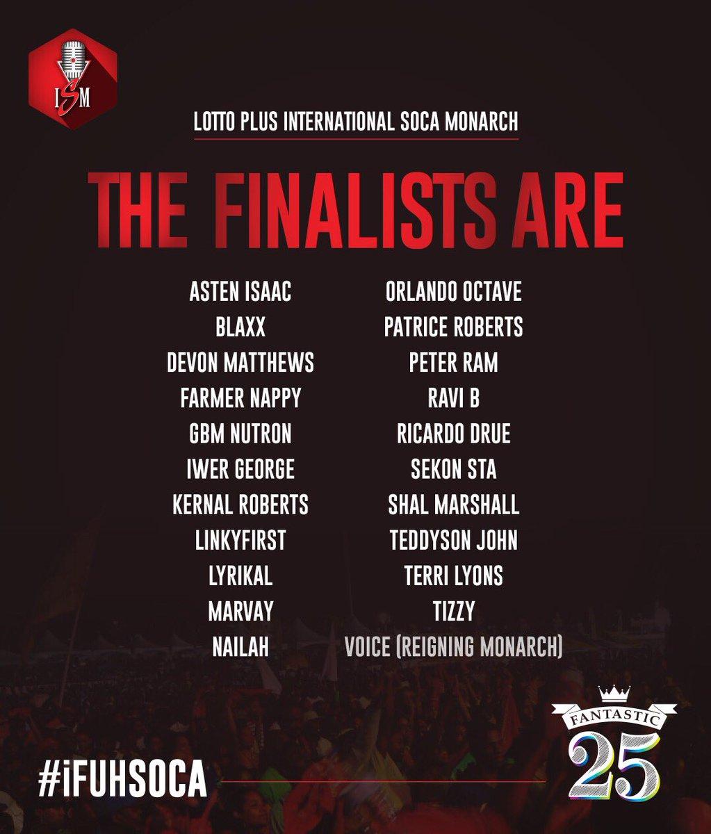 Your International Soca Monarch 2017 Finalists are.... https://t.co/2F0LEhjOEO
