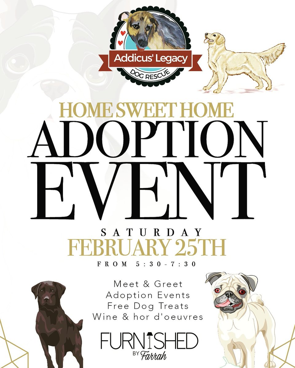Furnished by farrah on twitter addicus legacy dog rescue hosting an event with us february 25th from 530 730