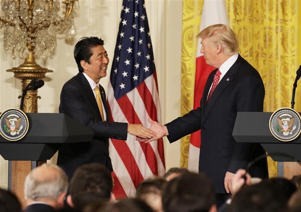 【日米首脳共同記者会見・全文(2)】安倍晋三首相「日本の高い技術力で大統領の成長戦略に貢献できる。米…
