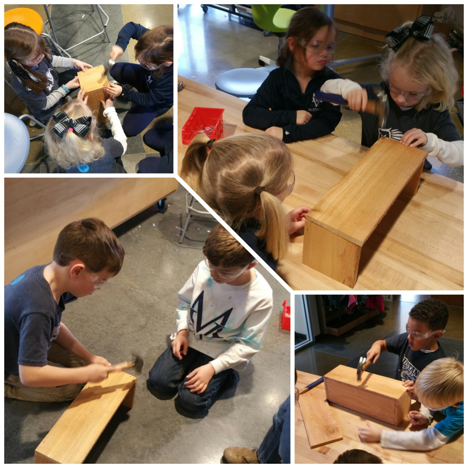 """These nails go in farther than the string art ones"" #kidquote Assembling garden boxes for @eileen_fennelly #MakerEd #MVPSchool @anawhitediy https://t.co/PgEKtK42x5"
