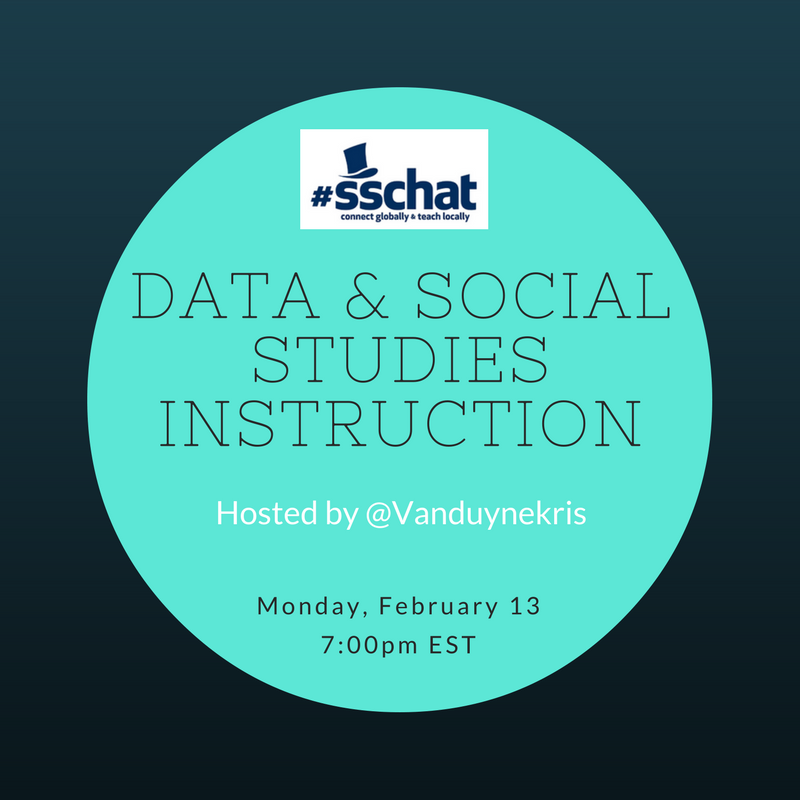 Whoops! Wrong data in previous tweet. Join @VanduyneKris and #sschat in 59 MINUTES to discuss using DATA in social studies instruction. https://t.co/G8HhGU67x6