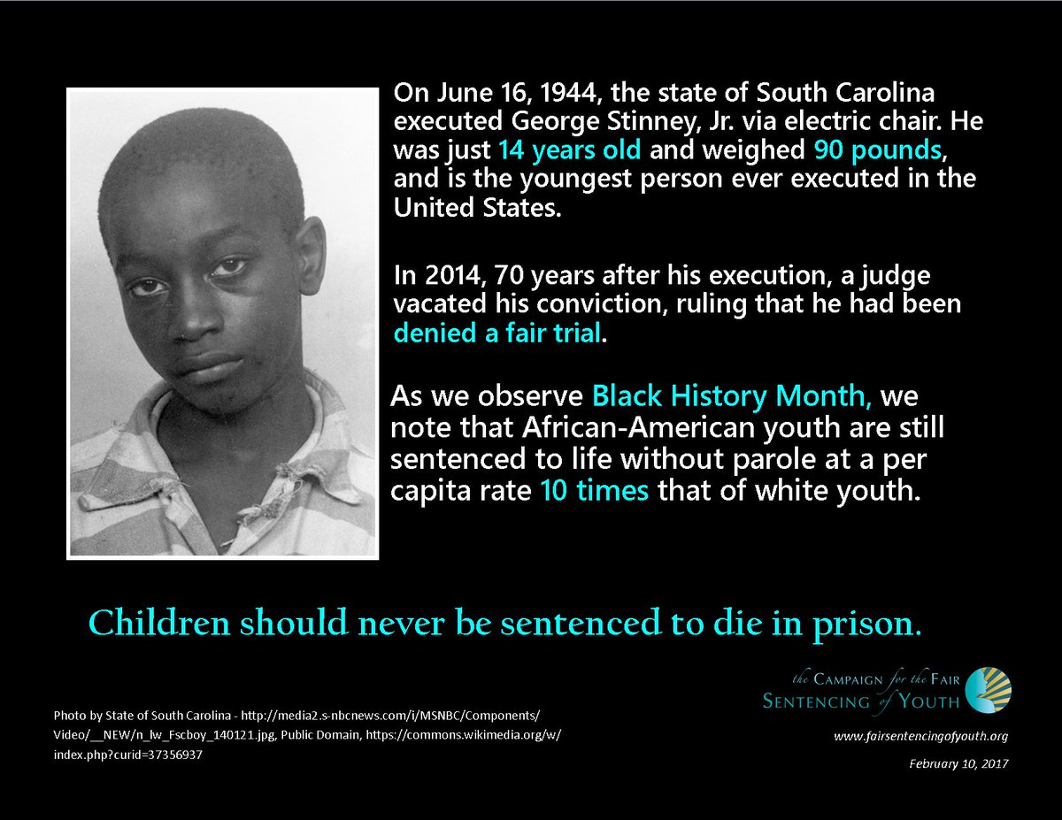 """Campaign for the Fair Sentencing of Youth on Twitter: """"The CFSY remembers  George Stinney during Black History Month. 70 years later, racial  disparities still carry a disproportionate impact.… https://t.co/c3QNKAMVYa"""""""