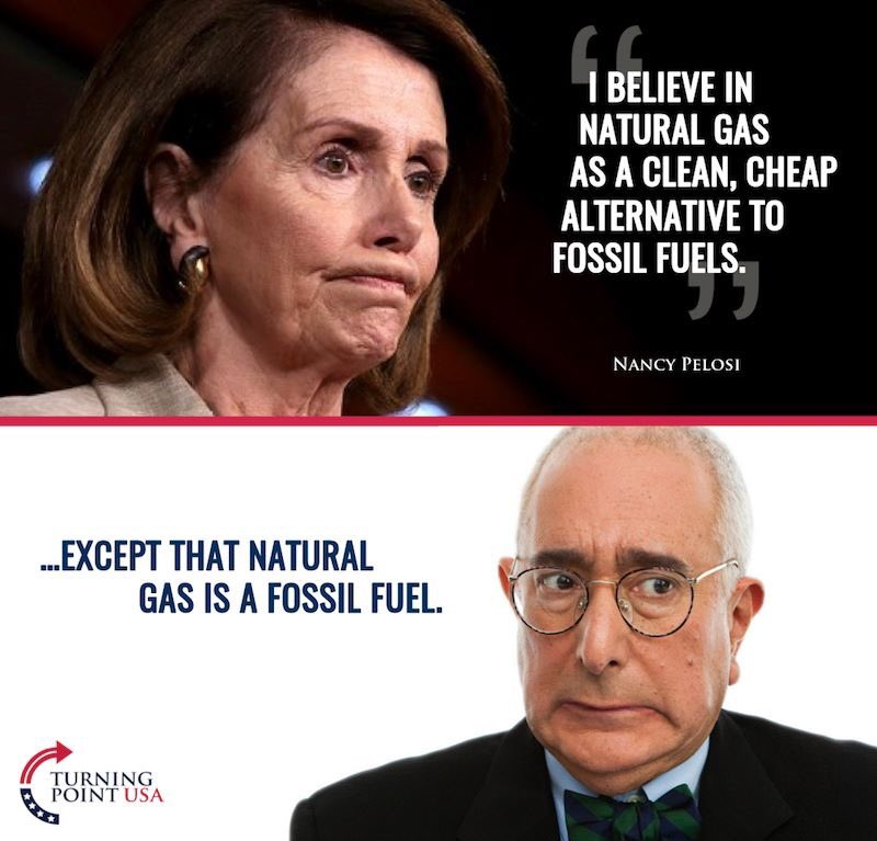 """Tyler Bowyer on Twitter: """".@NancyPelosi is a huge fan of Fossil fuels...  apparently the best alternative to fossil fuels? Lol. @TPUSA… """""""