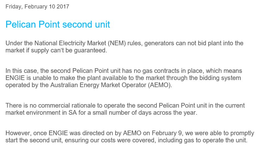 Yesterday, operator of the Pelican Point power station, ENGIE, said it does not have gas contracts in place to supply its second unit. https://t.co/mfym9D92mb