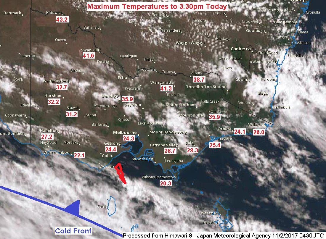 Heat still prevails over northern #Victoria but a cold front is near! Cooler air will spill northeast over #Victoria with showers tonight. https://t.co/4N0i1duFDU