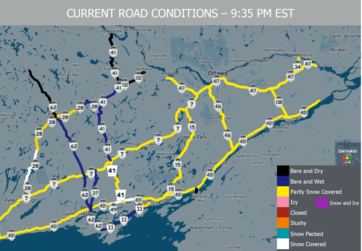 Ontario Traffic on Twitter 935PM ROAD CONDITIONS MAP Across E