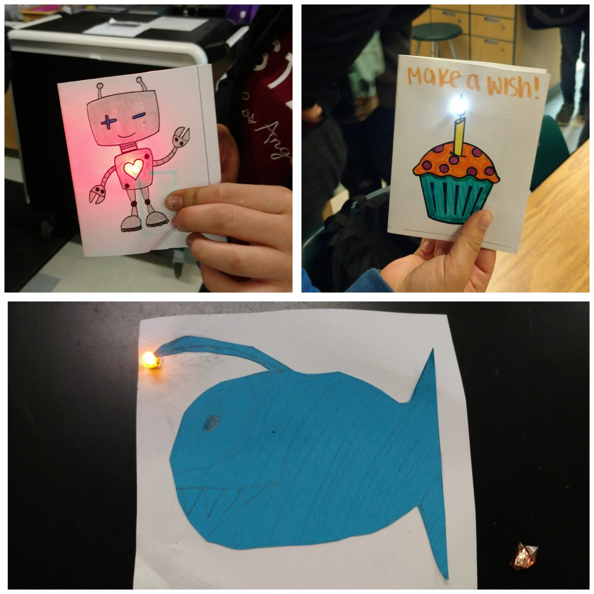 @chmscoyotes designed LED paper circuit cards today inspired by #exploratorium #tinkeringstudio &#39;s book #theartoftinkering! <br>http://pic.twitter.com/9rNo22d5dH