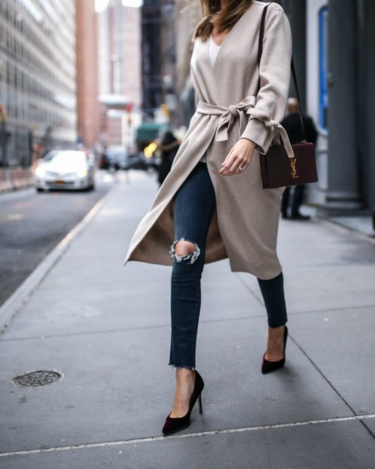 Robe Coat + Ripped Jeans