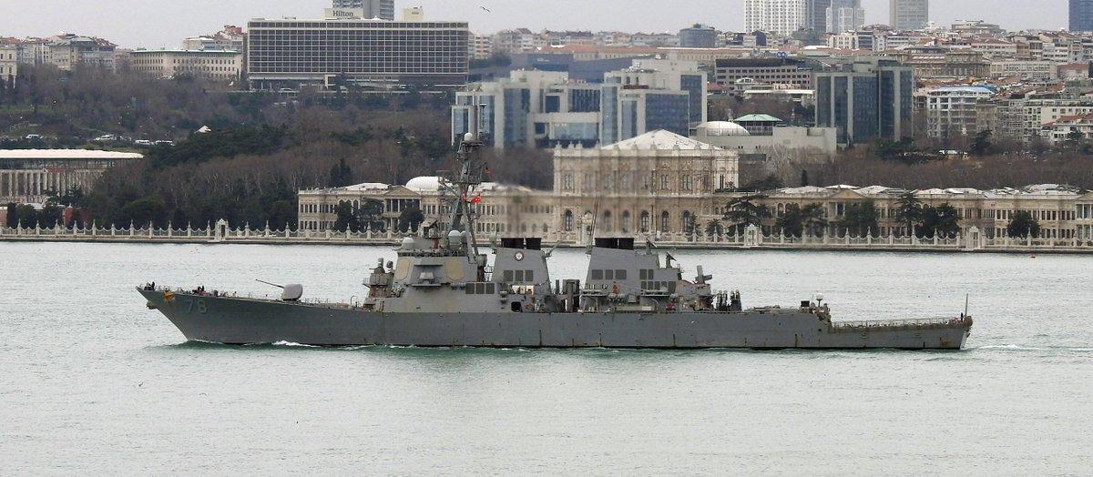 US Navy's ArleighBurke Class Destroyer USS Porter DDG78 southbound on the bosphorus, returning from #SeaShield17 in Black Sea