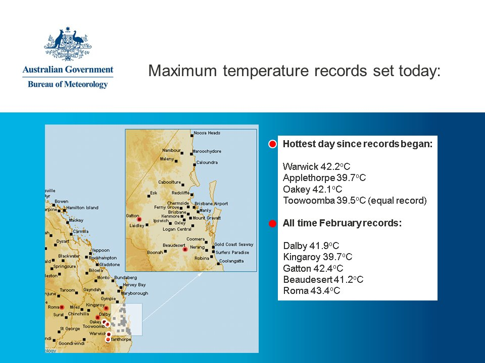 Hottest day on record in parts of #SEQld: 4 all time records & 5 Feb records fell. More records likely to tumble tomorrow. #QldHeat https://t.co/92hobqLInu