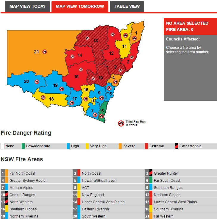 Hot, windy conditions tomorrow are causing extreme to catastrophic fire danger conditions through #NSW. https://t.co/X6BgxiQthV https://t.co/mIP1hWVPen