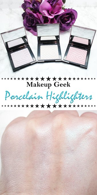 Makeup Geek Porcelain Highlighters Review Swatches Looks on Pale Skin