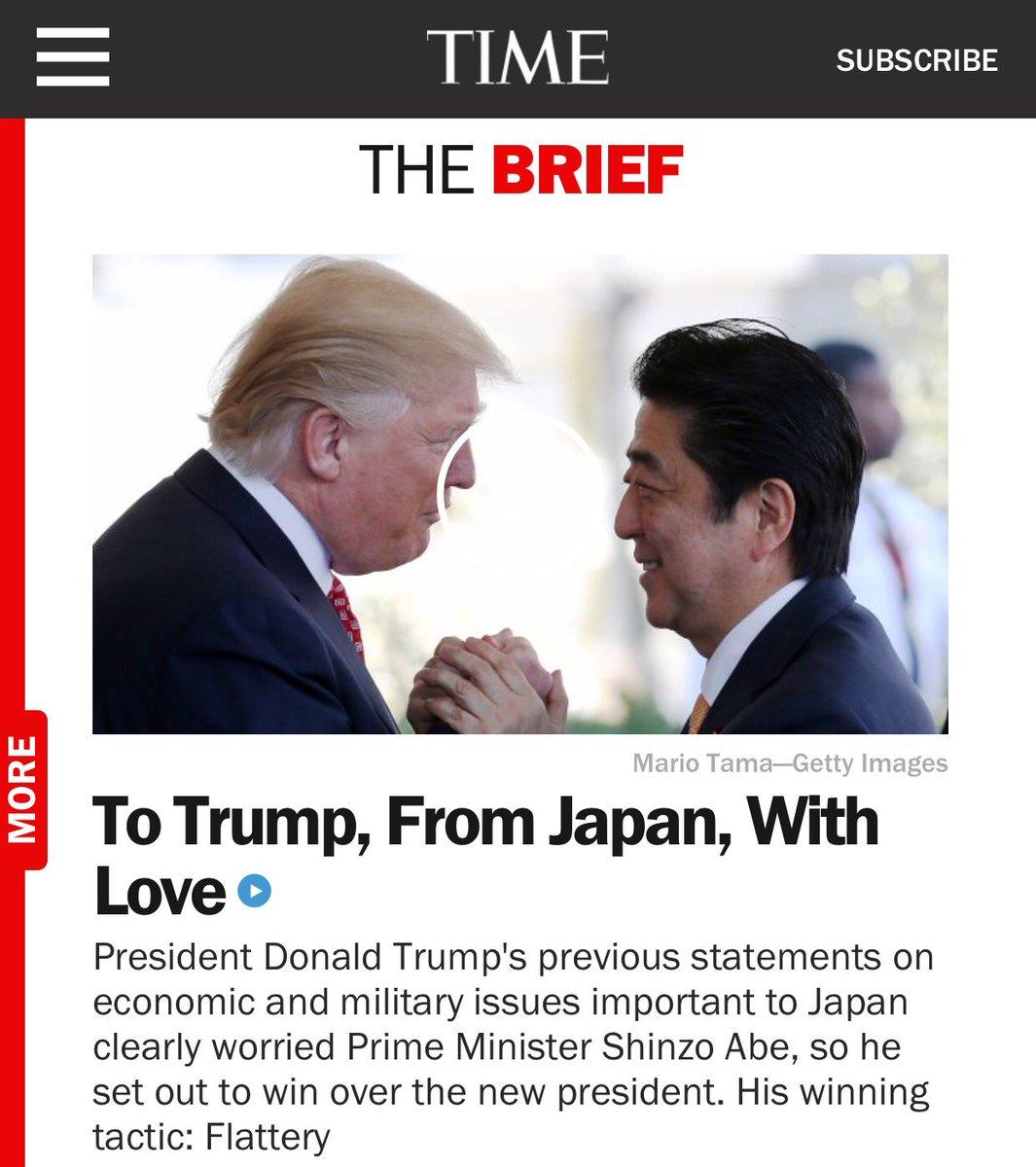 TIMEのこの見出しも凄いよ。 『日本より愛をこめて』  映画の邦題みたいだ。日本の総理大臣は全世界…